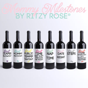 Mommy Milestones Wine Bottle Labels Baby Shower Gift | 8 Pack