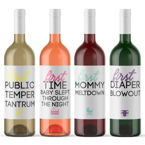 Mommy Milestones Wine Bottle Labels Baby Shower Gift - 8 Pack