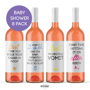 Mommy Milestone Wine Bottle Labels Baby Shower Gift | 8 Pack