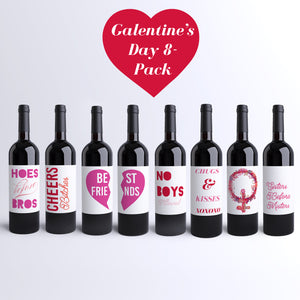 Galentine's Day Wine Labels Valentine's Day for The Girls - 8 Pack