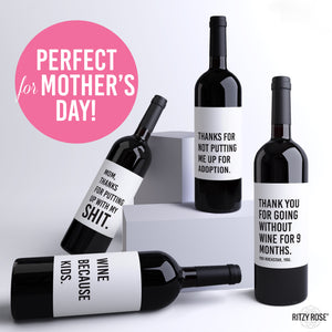Mother's Day Wine Labels - 4 Pack