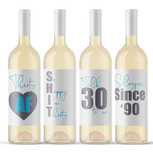 30th Birthday Wine Labels - 4 Pack