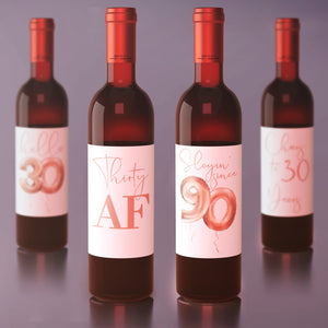 30th Birthday Rose Gold Balloon Wine Labels - 4 Pack
