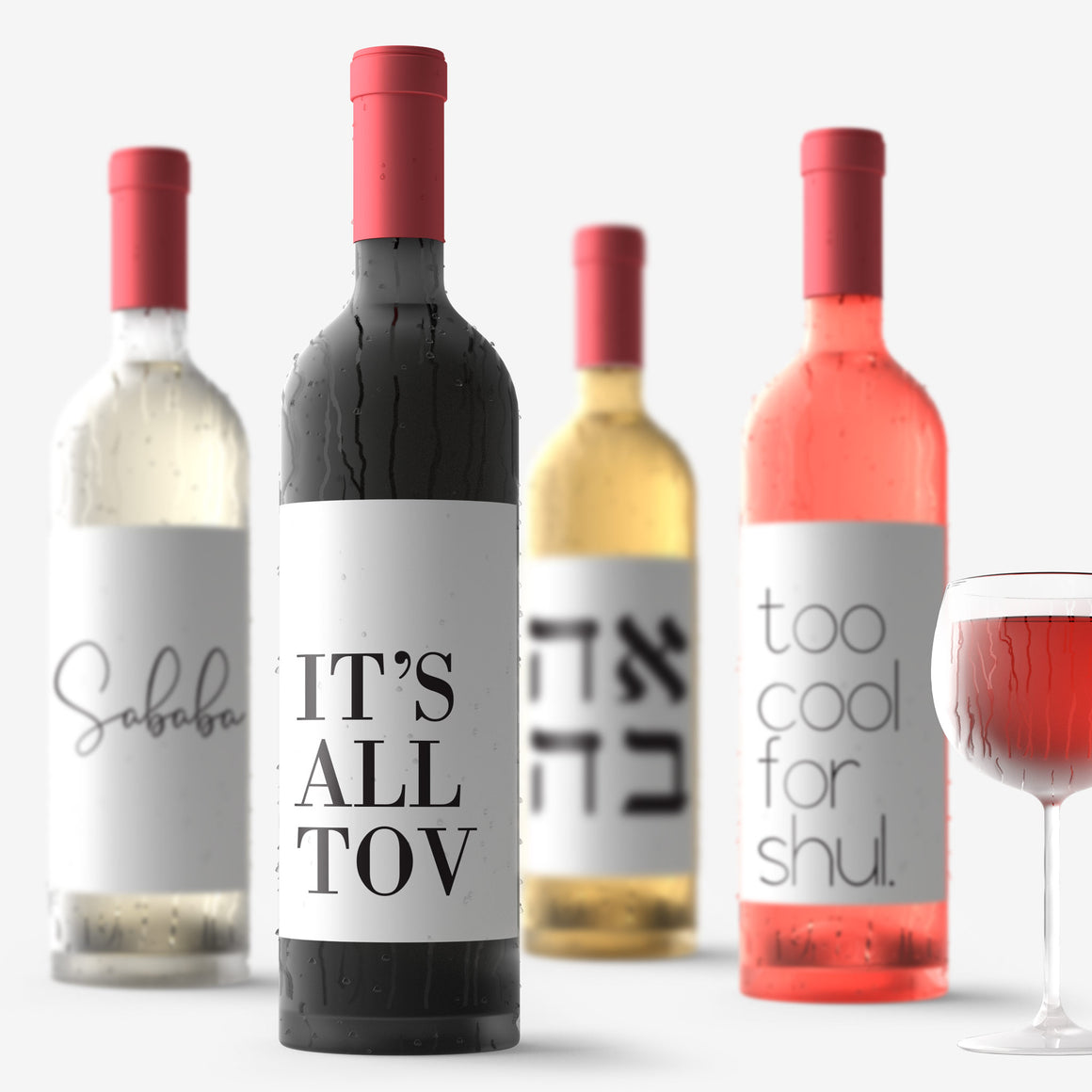 Funny Israeli Jewish Wine Bottle Labels | 8 Pack