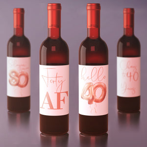 40th Birthday Rose Gold Balloon Wine Labels - 4 Pack