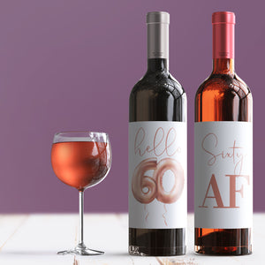 60th Birthday Rose Gold Balloon Wine Labels - 4 Pack