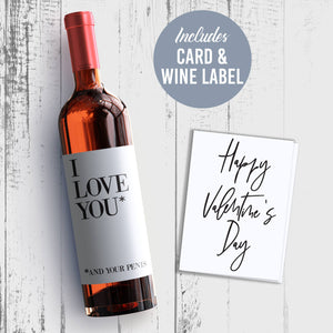Naughty Valentine's Day Wine Label + Card for Him