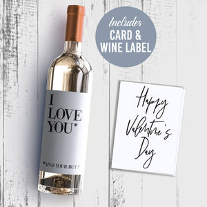 Naughty Valentine's Day Wine Label + Card