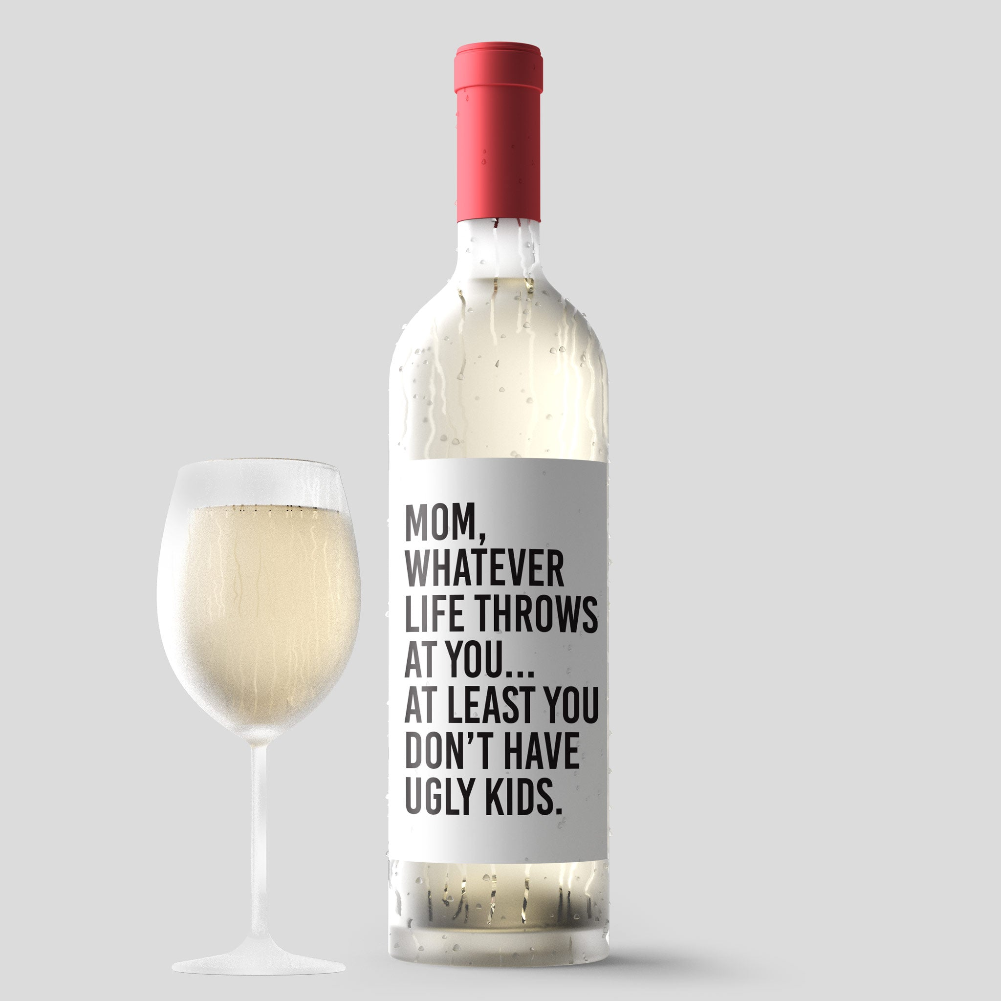 Peel /& Stick Wine Labels 4 Wine Bottle Labels Mom Present Thanks For Doing It With Dad Funny Mothers Day Wine Stickers No Matter What Life Throws At You At Least You Dont Have Ugly Kids