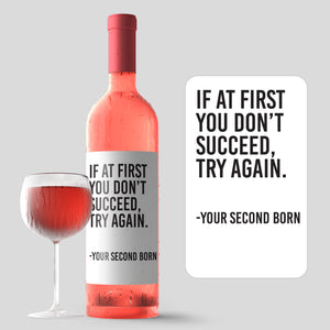 Funny From Second Child Mother's Day Wine Label + Card