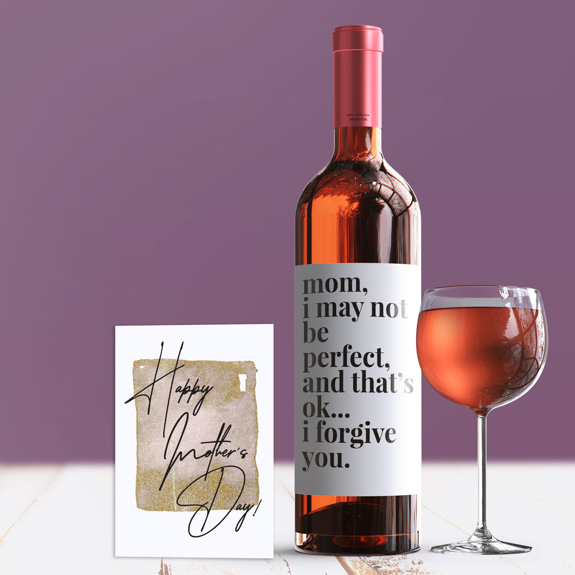 I May Not Be Perfect Mother's Day Wine Label + Card