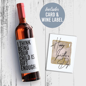 Funny For Mom Mother's Day Wine Label + Card