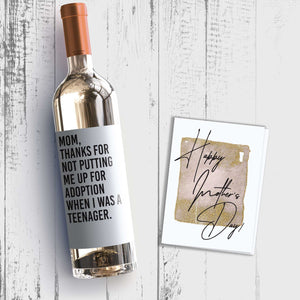 Funny Mother's Day Wine Label + Card