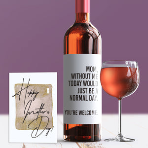 Cute Mother's Day Wine Label + Card