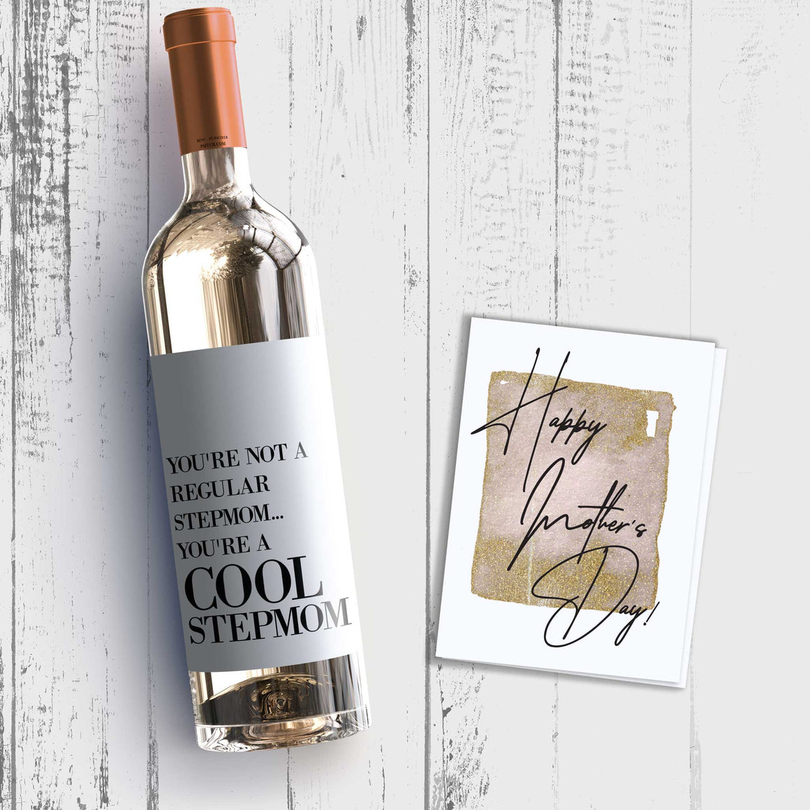 Cool Step Mom Mother's Day Wine Label + Card