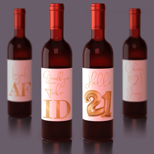 21st Birthday Gold Balloon Wine Labels - 4 Pack