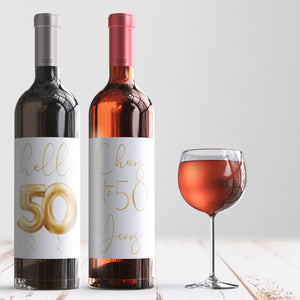 50th Birthday Gold Balloon Wine Labels - 4 Pack