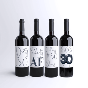 Dirty 30 Birthday Black Balloon Wine Labels - 4 Pack