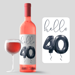 Forty and Fab 40th Birthday Black Balloon Wine Labels - 4 Pack