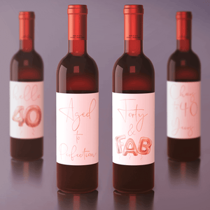 Forty and Fab 40th Birthday Rose Gold Balloon Wine Labels - 4 Pack