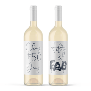 Fifty and Fab 50th Birthday Black Balloon Wine Labels - 4 Pack