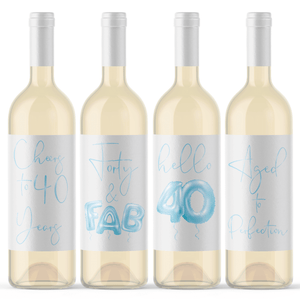 Forty and Fab 40th Birthday Blue Balloon Wine Labels - 4 Pack