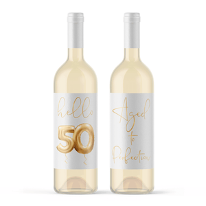 Fifty and Fab 50th Birthday Gold Balloon Wine Labels - 4 Pack