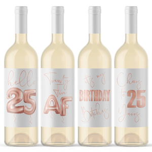 25th Birthday Rose Gold Balloon Wine Labels - 4 Pack