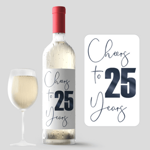 25th Birthday Black Balloon Wine Labels - 4 Pack