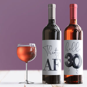 30th Birthday Black Balloon Wine Labels - 4 Pack
