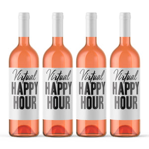 Virtual Happy Hour Wine Labels - 4 Pack