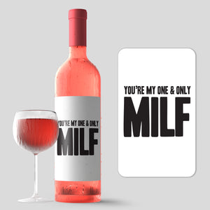 Funny MILF Mother's Day Wine Label + Card