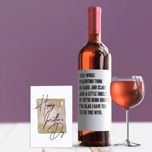Funny Parenting Is Hard Mother's Day Wine Label + Card