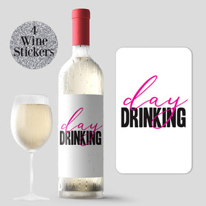 Day Drinking Wine Labels - 4 Pack