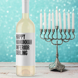 Happy Hanukkah Inferior Sibling Wine Label