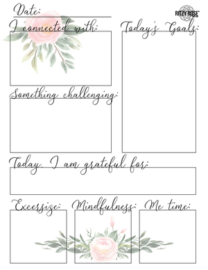 Daily Journal Page for Adults (Pink Florals) - Digital Download