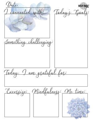 Daily Journal Page for Adults (Blue Florals) - Digital Download
