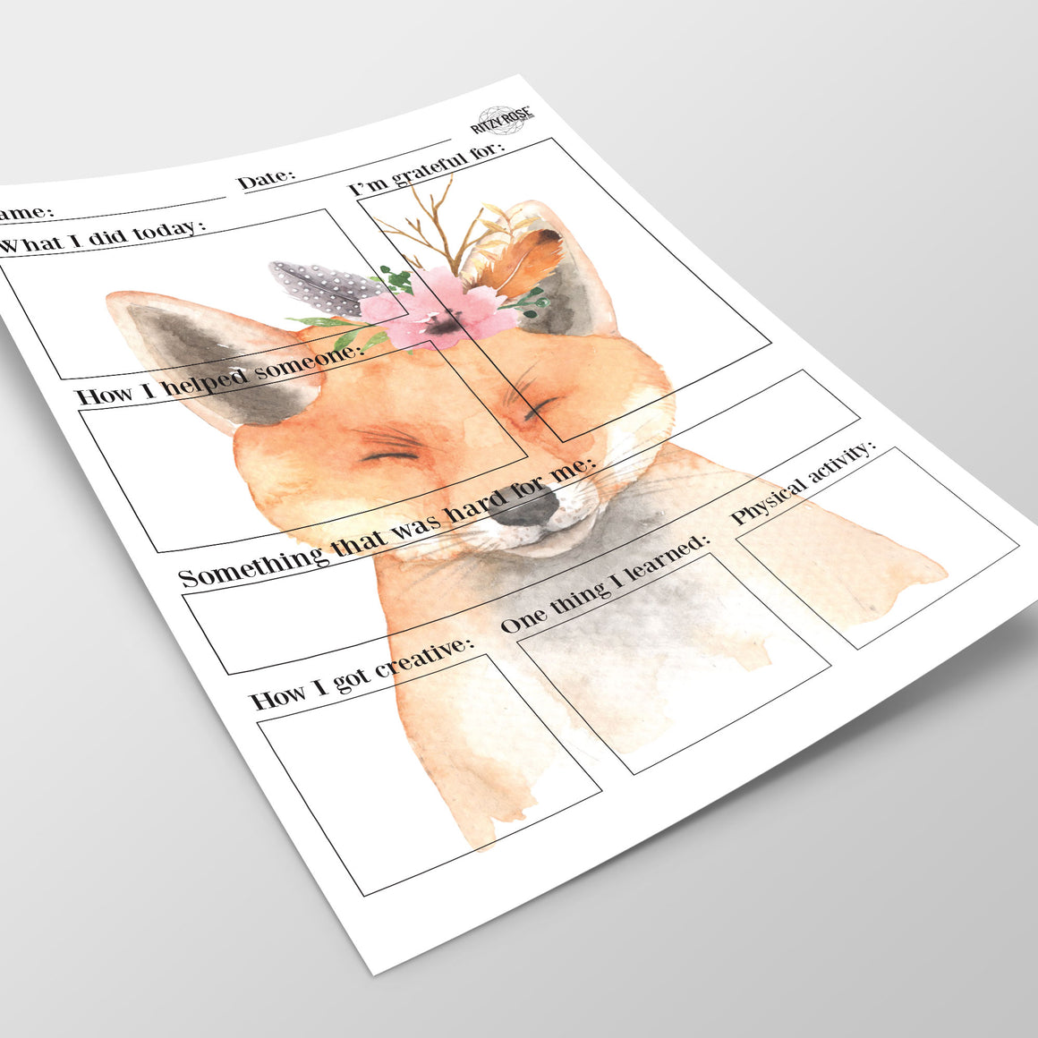 Daily Journal for Children (Floral Fox) - Digital Download