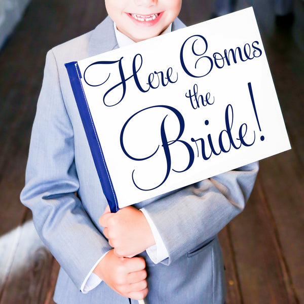 Here Comes The Bride Wedding Sign | Small Ring Bearer Banner