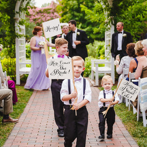 Set of 3 Signs | Here Comes the Bride, Hurry Up I Want Cake, Hooray!