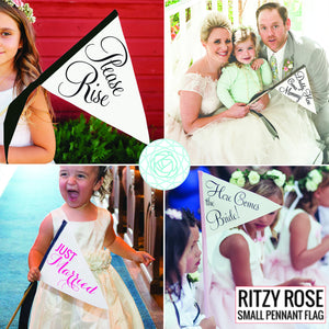 Here Comes + The Bride Wedding Signs (Set of 2 Flags)