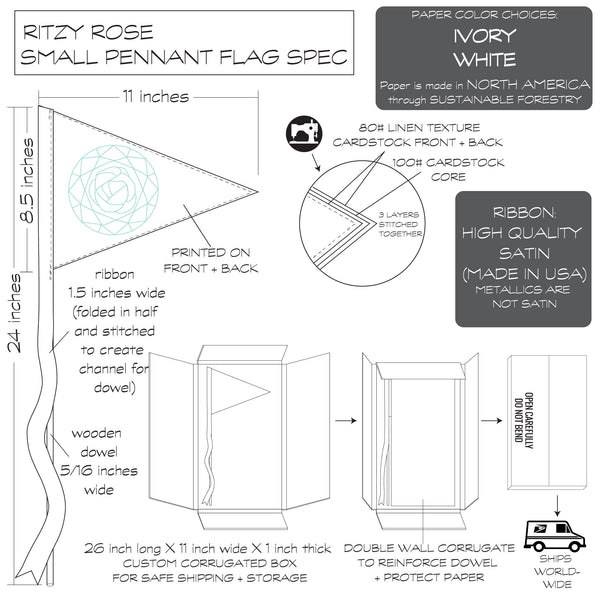Ritzy Rose Small Pennant Flag Spec