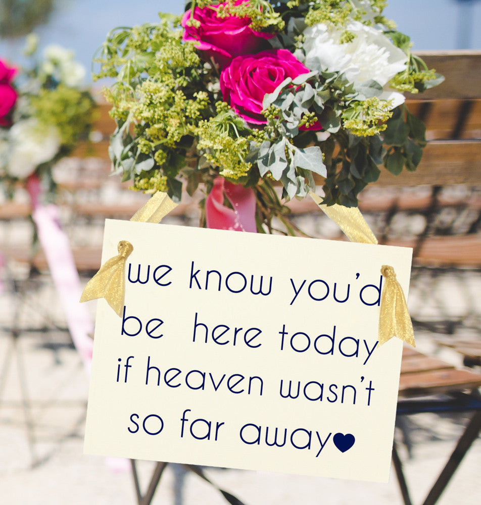We know you'd be here today if heaven wasn't so far away sign