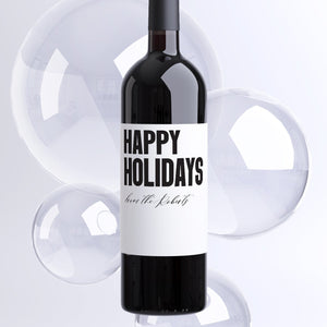 Custom Happy Holidays Wine Labels - 4 Pack