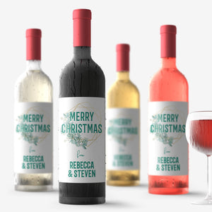 Personalized Merry Christmas Wine Labels - 4 Pack