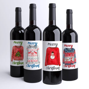 Ugly Christmas Sweater Wine Labels - 4 Pack
