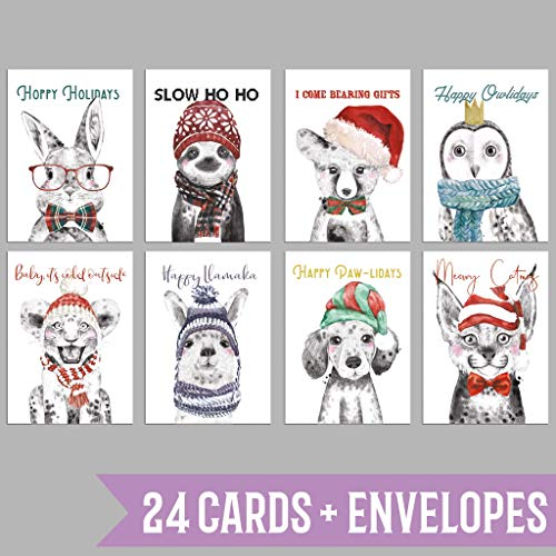 Adorable Animals in Hats Holiday Cards - 24 Pack