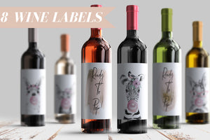 Ready To Pop Baby Shower Wine Bottle Labels 8 Whimsical Baby Animal Wine Stickers for Shower Gift or Decor Woodland Creature Pink Gold 9237