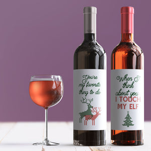 Christmas Wine Bottle Labels for Her - 4 Pack