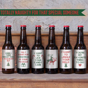 Naughty Christmas Beer Labels for Him - 6 Pack